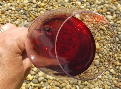 The transulcent garnet color of our cherry wine.