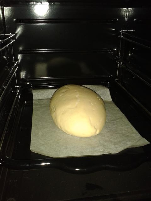 Bread in the oven.