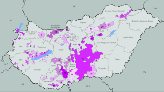 Wine regions of Hungary. (citation: from Wikipedia using the GNU Free Documentation License, Version 1.2)