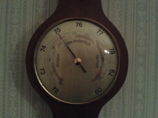 Analog barometer. Data is local, specific and only available to someone looking at the barometer.