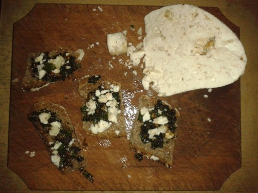 Whole grain bread, stinging nettle pesto, and locally made goat cheese