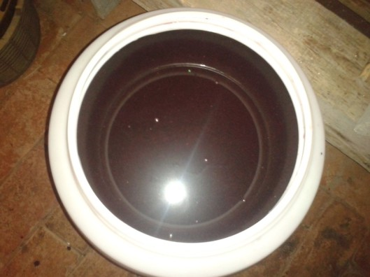 Strained mulberry juice. The juice looks like Indian ink in this photo, but that is just a lighting issue from the photograph. The color is actually a rich deep purple-burgundy color.