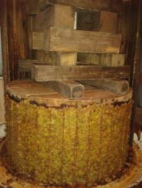 Pressed and compacted grapes after pressing.