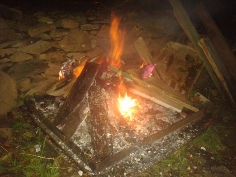 All Hallows' Eve / Samhain tiny bonfire.