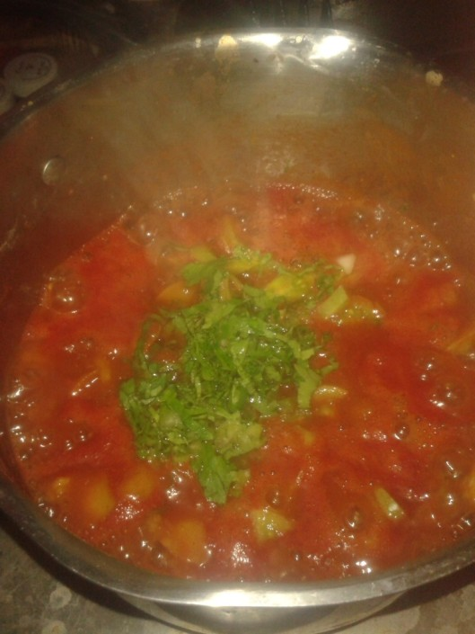 Added water, white wine, and a bit of chopped celery.